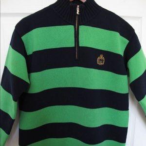 Ralph Lauren Stripe Embroidered Crest Sweater NWOT
